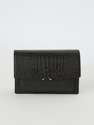 18FW ALLIGATOR-EMBOSSED LEATHER BAG - BLACK