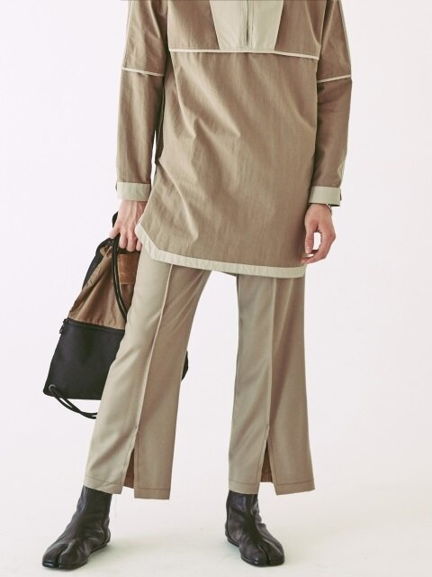 OPT18FWPT04BK Center Slit Wool Pants Mushroom