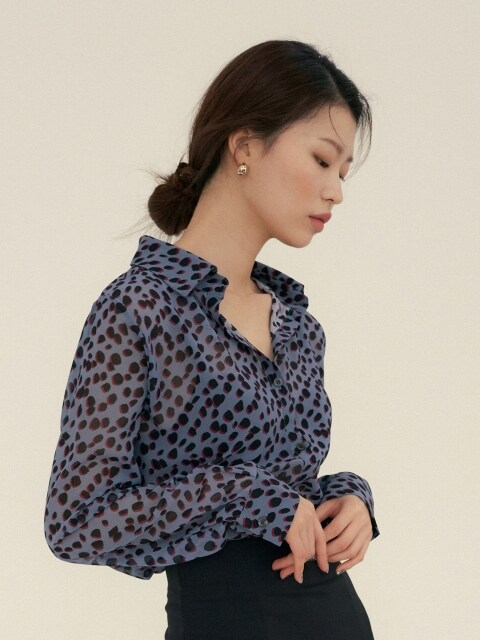 LEOPARD PATTERN SHIRTS BLUE