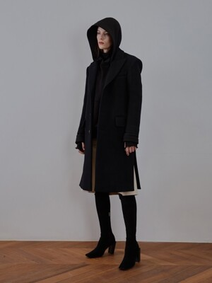 SINGLE WOOL FELT COAT [black]