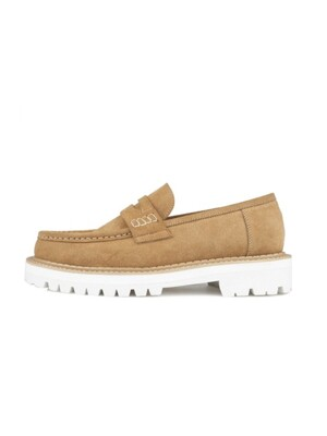 WHITE OVER SOLE PENNY LOAFERS - Camel