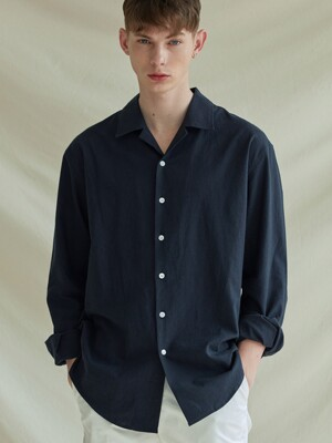 LOOSE-FIT OPEN COLLAR LINEN SHIRTS_NAVY