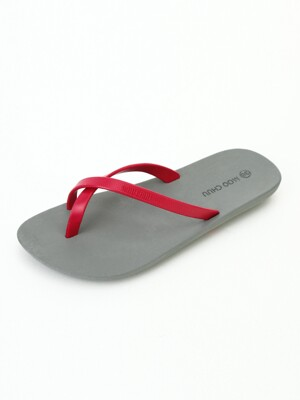 [WOMEN] FlipFlop2, Gray-Hot pink