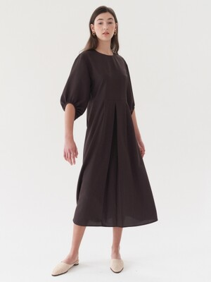 shirring sleeve dress-brown