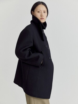 DOUBLE BREASTED WOOL PEA COAT (BLACK)