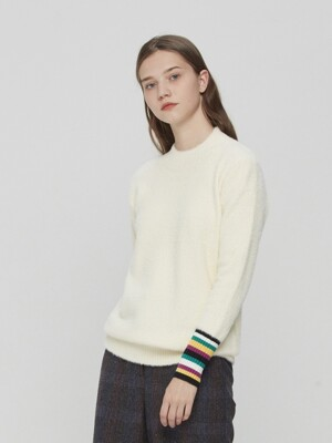 Striped Cuffs Knit Pullover Ivory