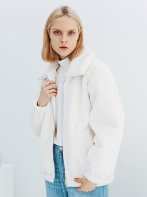 Fur Zip-up Jacket [Ivory]