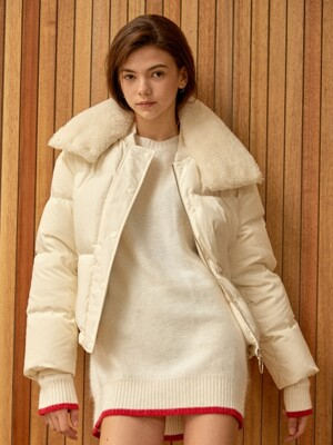fur detail down jacket White