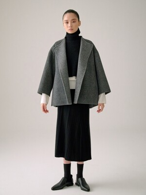 CHARCOAL GREY REVERSIBLE CASHMERE BLEND HALF COAT