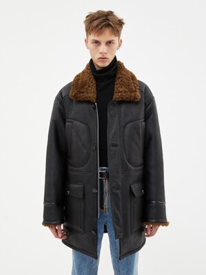 UNISEX JULIEN LAMB SHEARLING COAT awa291u(BLACK)