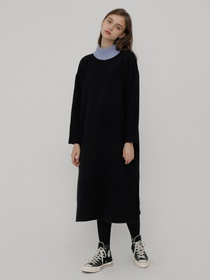 R NECK COLOR TWO WAY KNIT DRESS