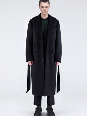 [COLLECTION]CASHMERE CHESTERFIELD LONG COAT - BLACK