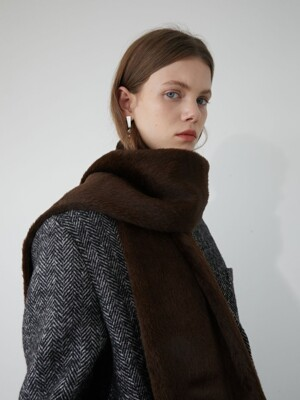 19' WINTER_CHOCOLATE BROWN FAKE FUR MUFFLER