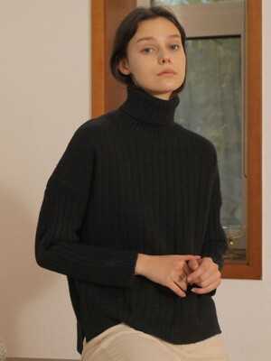 BASIC TURTLENECK WOOL KNIT_BLACK
