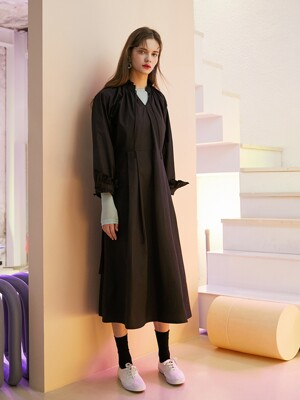 20SS 1ST SHIRRING LONG DRESS_BLACK
