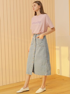 BUTTON DENIM SKIRT_BLUE