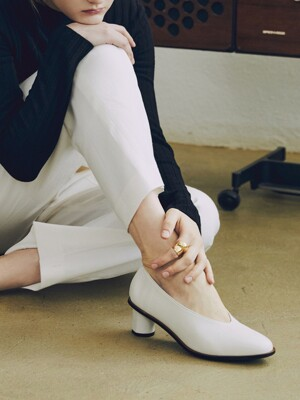 Soft Leather Pumps(Wood Sole) _Off white [LMS204WH]