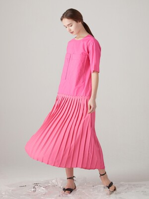 [단독] Short pleated one peice - Pink