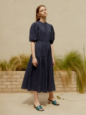 CHECK VOLUME STRUCTURE DRESS NAVY AEDR0E005N2