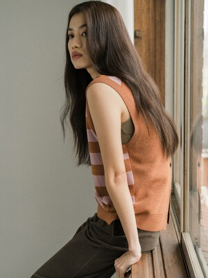 BROWN WOOL STRIPE VEST
