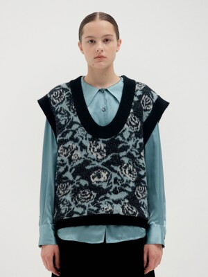 QQ Floral Patterned Oversized Knit Vest - Black Multi