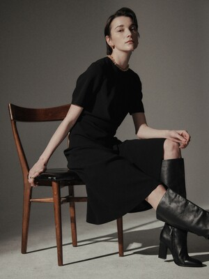 [Drama Signature] Draped Half-sleeve Dress_2color