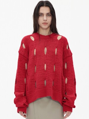 CUT-OUT COTTON SWEATER, RED