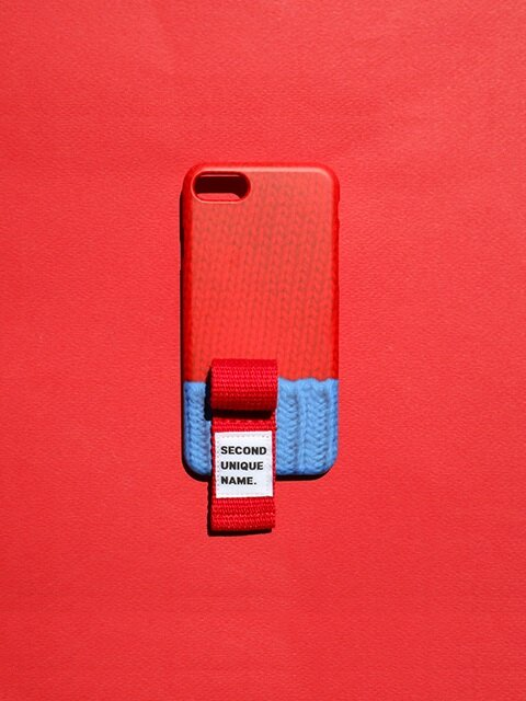 SUN CASE FINGER SWEATER RED BLUE