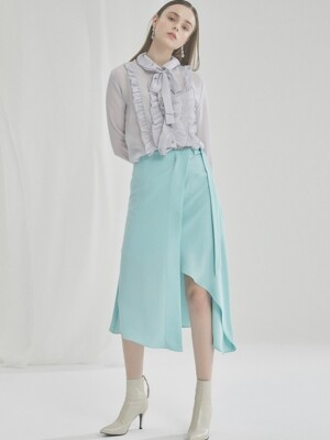 WOMAN MODERN WRAP RUFFLE SKIRT (MINT)