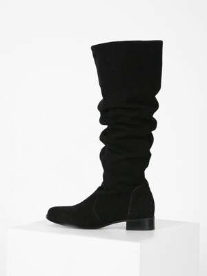 WAVE KNEE-HIGH BOOTS - BLACK