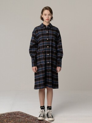 R MULTI CHECK BACK RIBBON SHIRT DR_BLACK