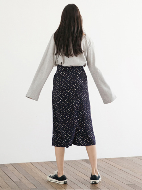 Dot A-line Skirt - Navy