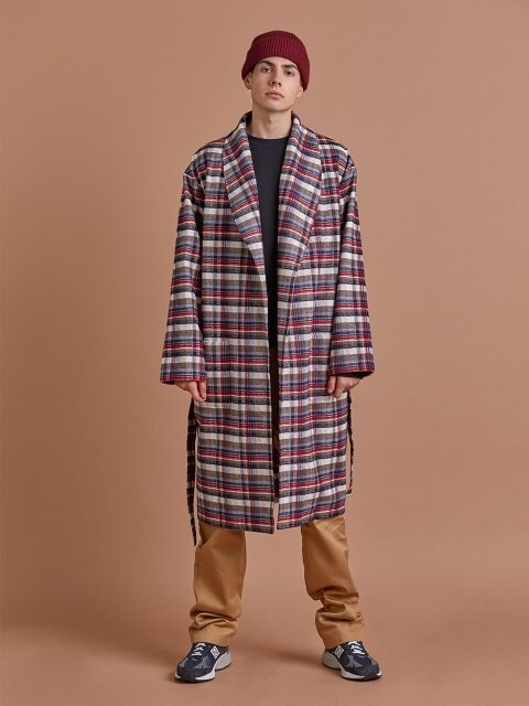 코튼 체크 로브 / COTTON CHECK ROBE_Beige_M