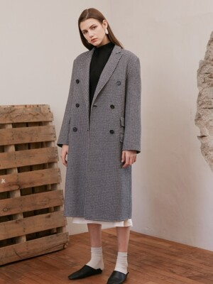 HOUNDS TOOTH DOUBLE COAT_BLACK CHECK