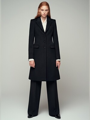 CASHMERE BLENDED WOOL CLASSIC COAT - BLACK