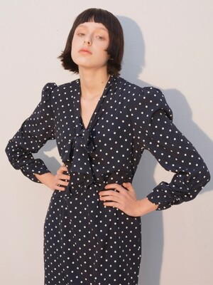 Puff Shoulder Tie Dress_Dot