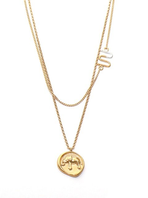 i_n9 elephant coin_logo style necklace (silver)