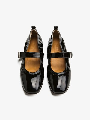 15mm Patent Maryjane Flat Shoes (Black)