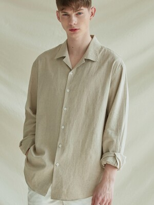 LOOSE-FIT OPEN COLLAR LINEN SHIRTS_BEIGE