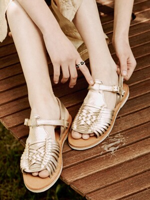 WEAVING SANDALS_CHAMPAGNE