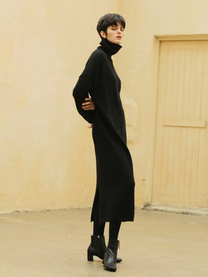Cashmere turtleneck dress_Black