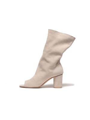 Wrinkled Suede Boots - white beige