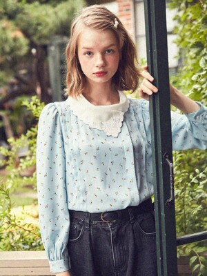 Pintuck Blouse with Floral Embroidery (Sky Blue)