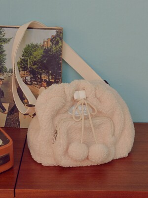 (BG-19703) BOUCLE BUCKET BAG IVORY