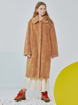 Reversible Faux-shearling oversized coat [Beige]