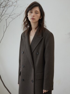 LANETH WOOL COAT (MELANGE BROWN)