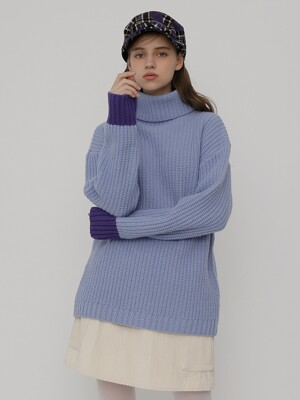 R SLEEVE COLOR KNIT
