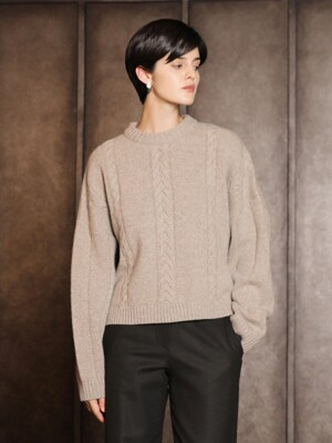 Cashmere round cable sweater_Beige