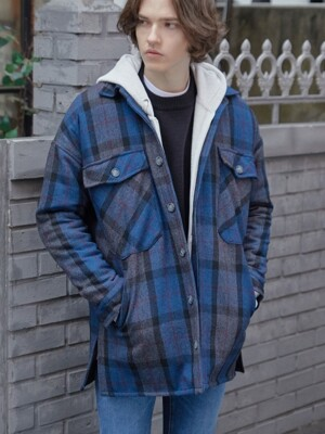 DIEL CHECK JACKET (NAVY)