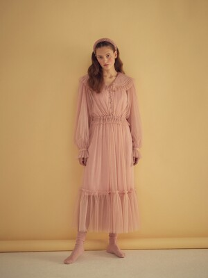 TULLE LONG DRESS - PINK/IVORY